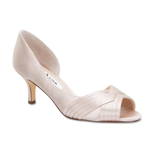 Contesa Heel in Champagne Satin