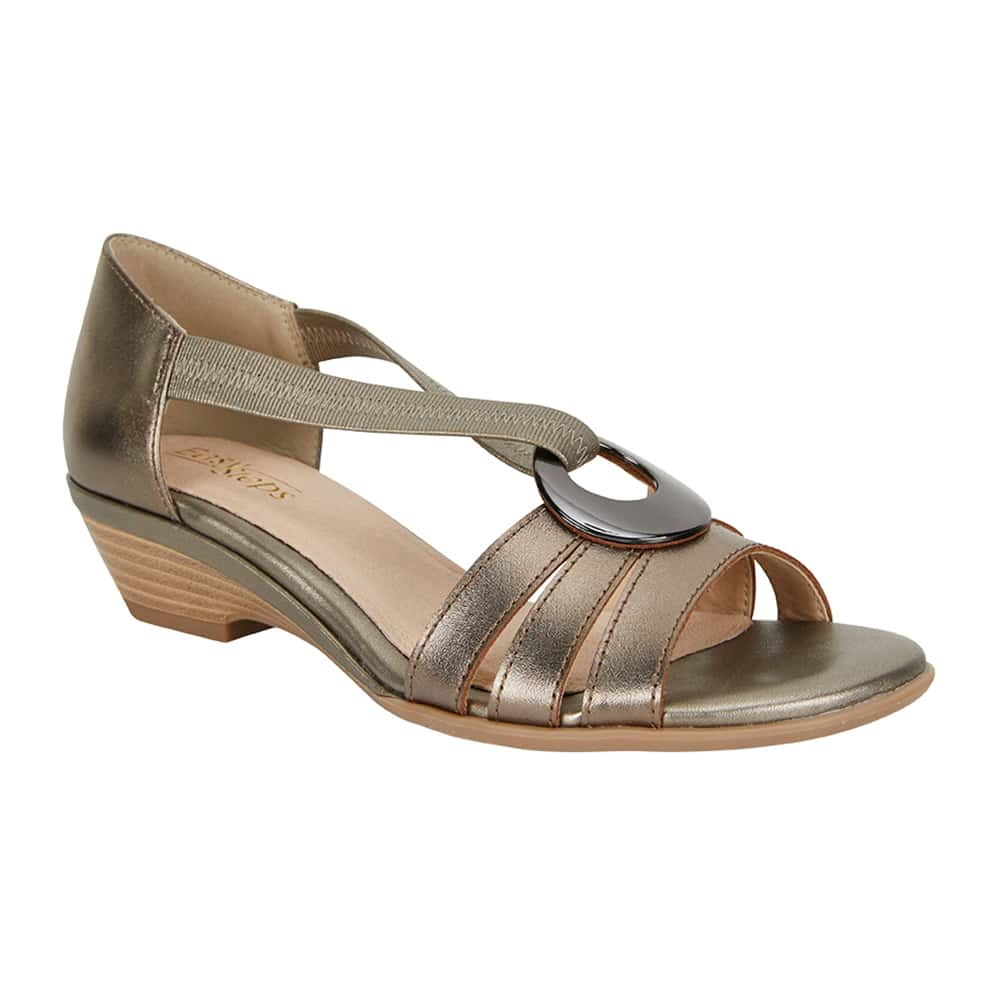Corina Sandal in Pewter Leather