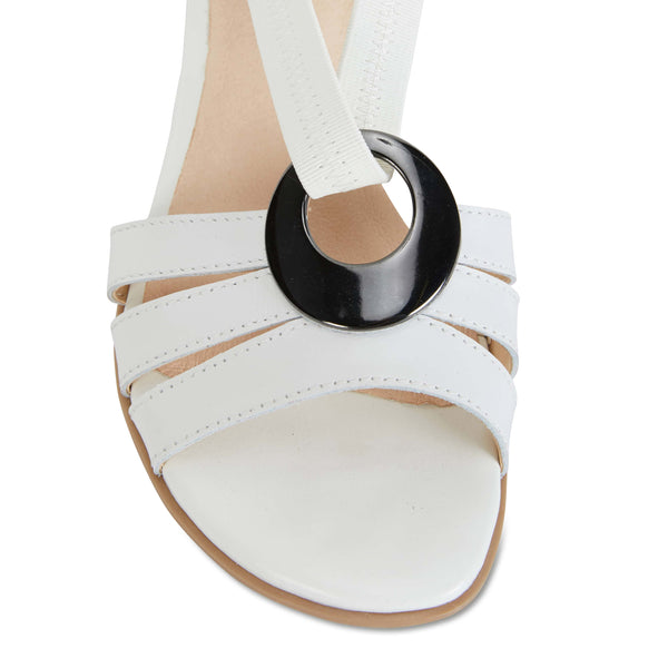 Corina Sandal in White Leather