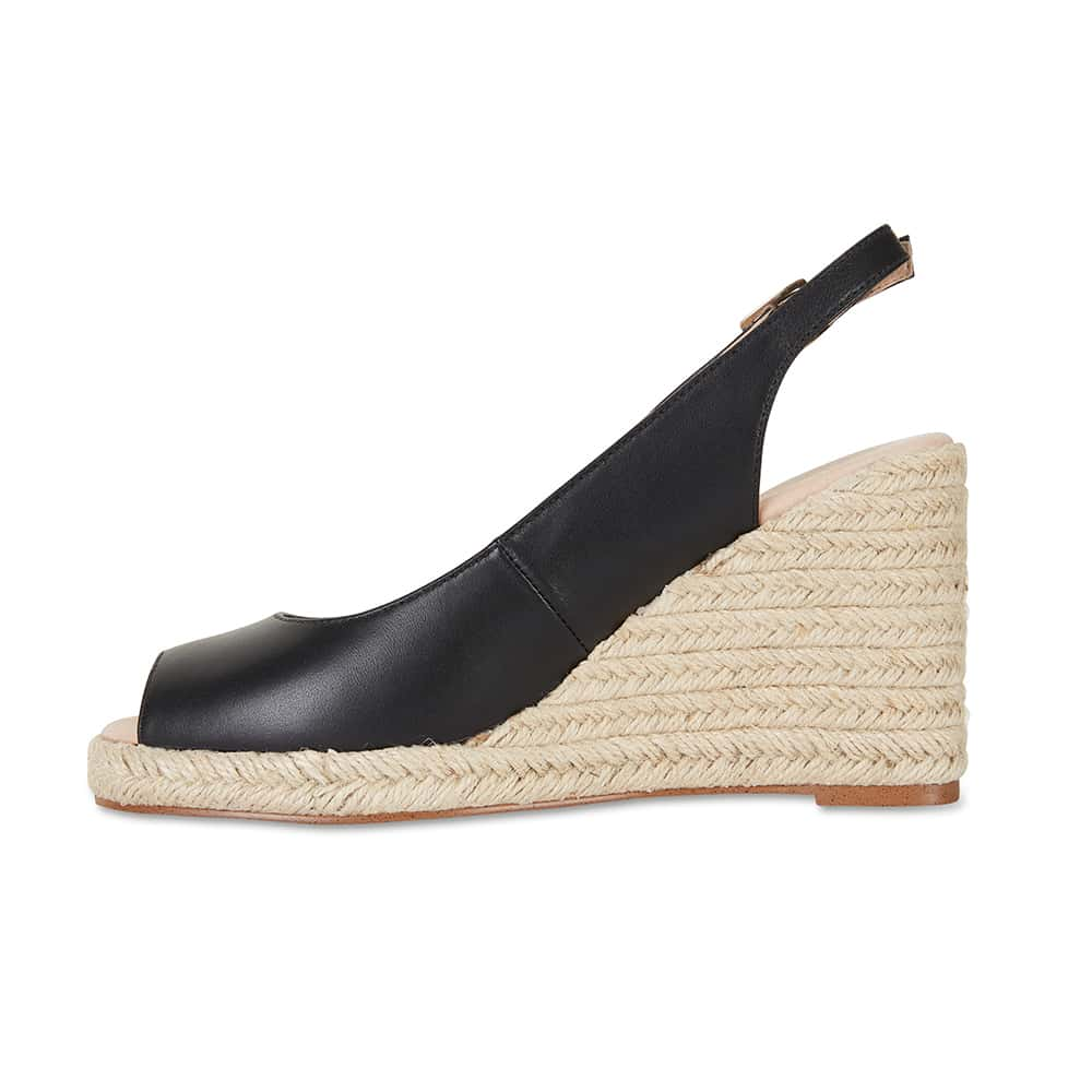 Dakota Espadrille in Black Leather