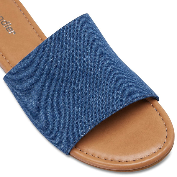 Dana Slide in Denim Fabric