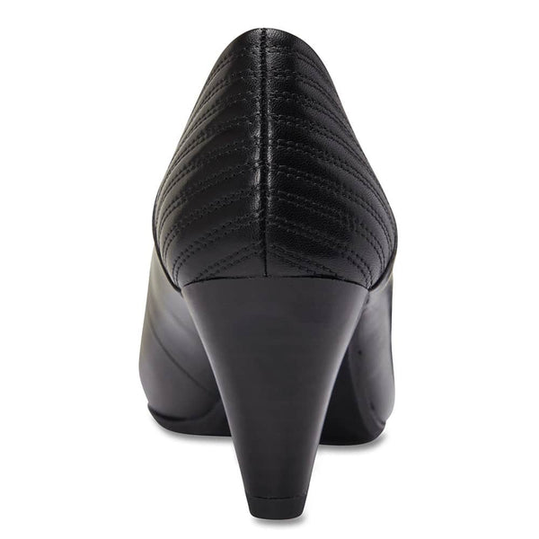 Edina Heel in Black Leather