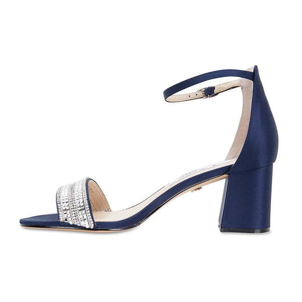 Elenora Heel in Navy Satin