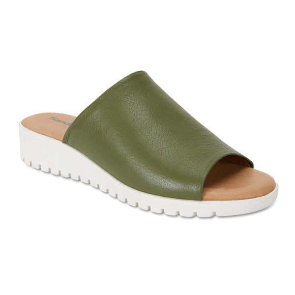 Fate Slide in Khaki Leather