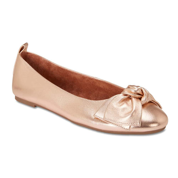 Gabby Flat in Rose Gold Leather