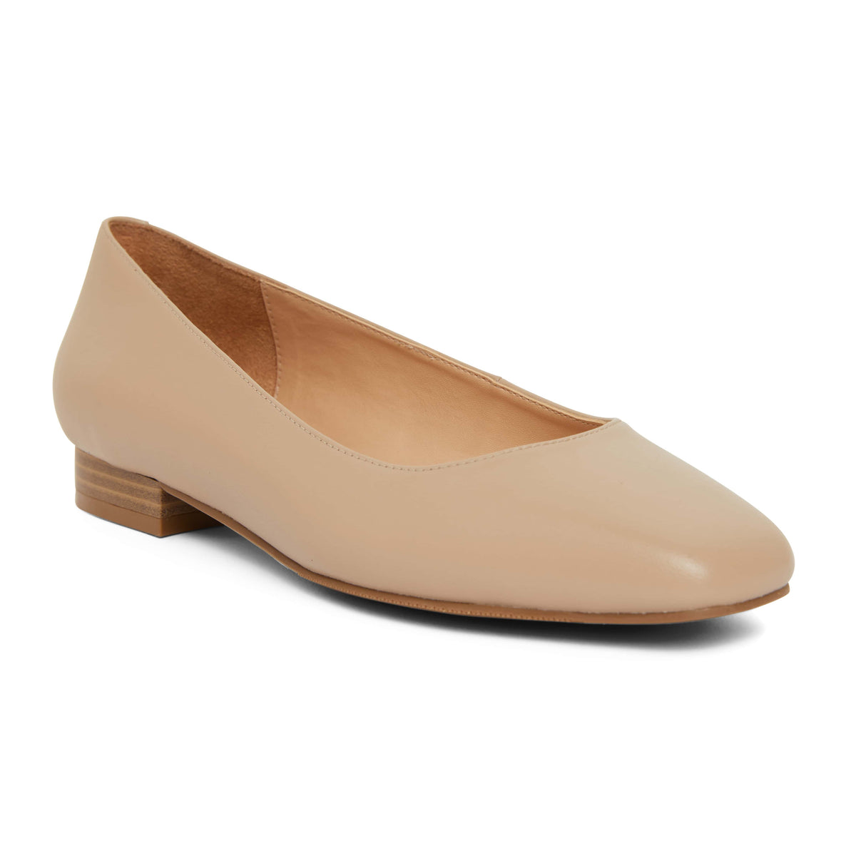 Gaby Flat in Nude Leather