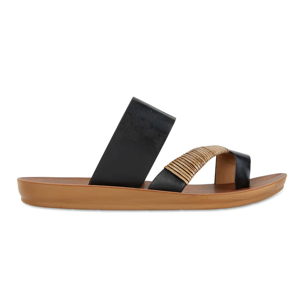 Gidget Sandal in Black Smooth