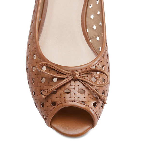 Hazel Heel in Cognac Leather