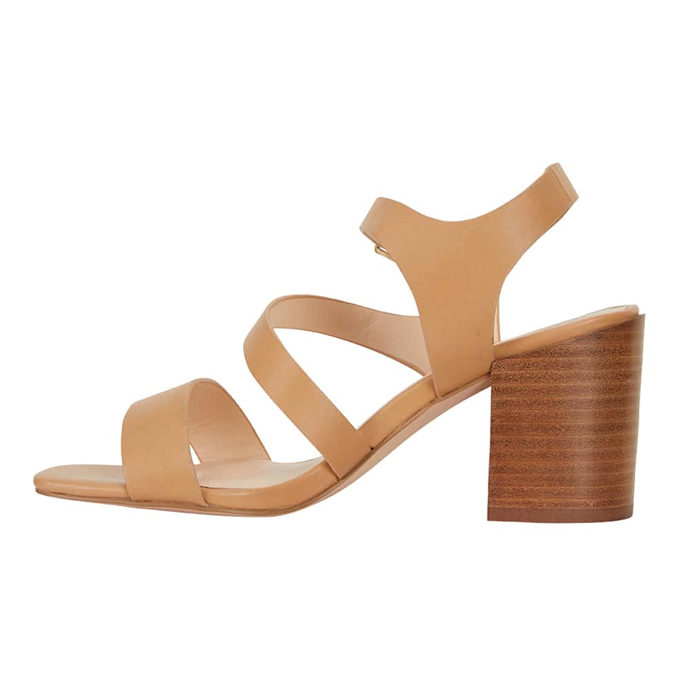 Husky Heel in Camel Smooth