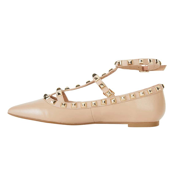 Inez Flat in Nude Leather