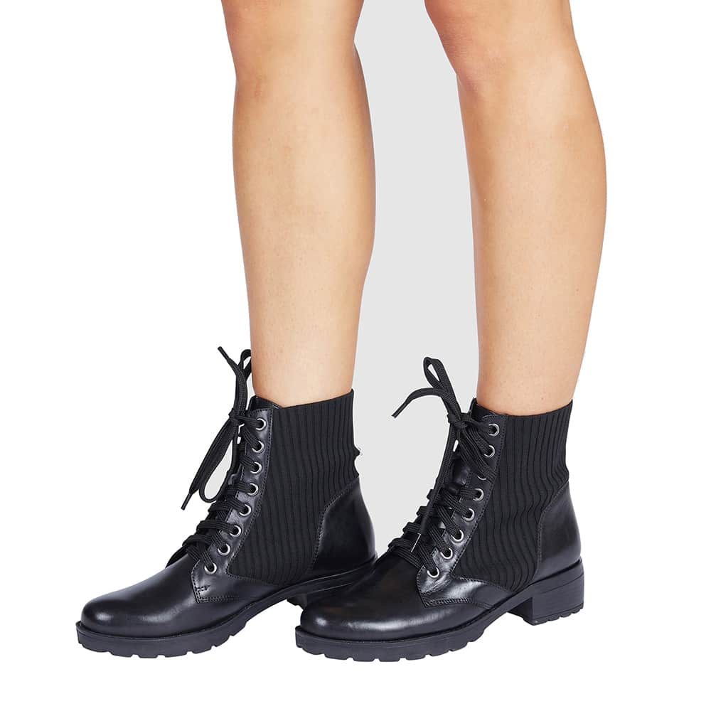 Ireland Lace Up Boot in Black Leather