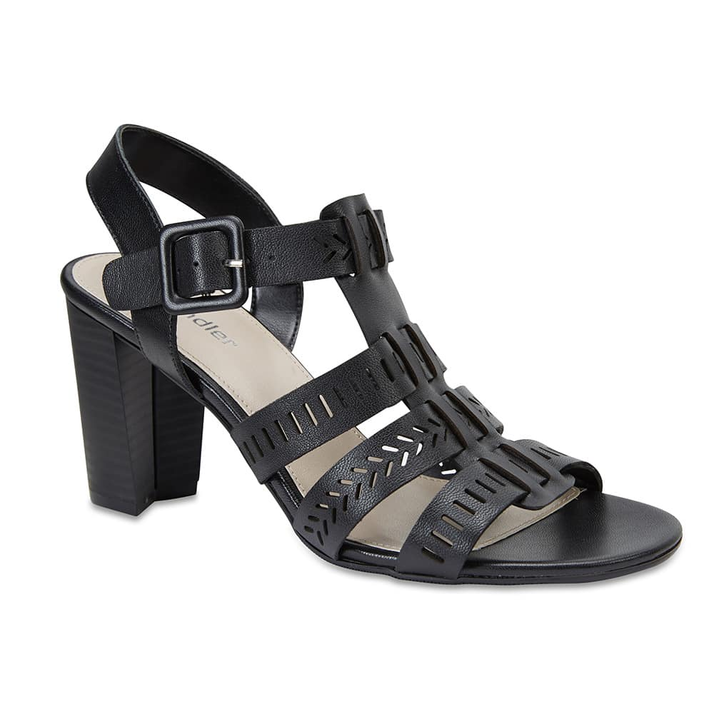 Jamaica Heel in Black Leather