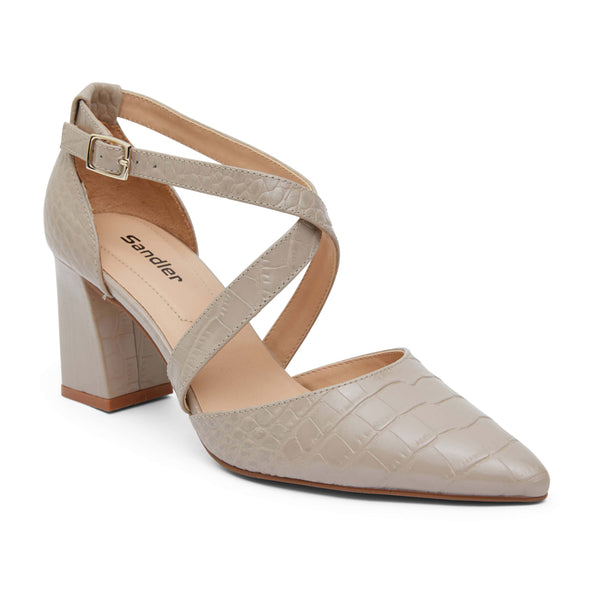 Kara Heel in Nude Croc Leather