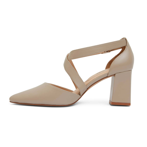 Kara Heel in Nude Leather
