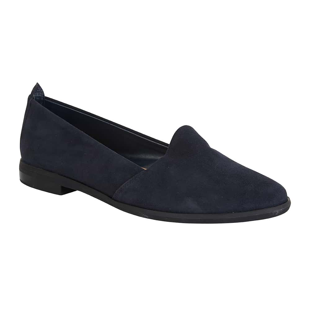 Kelly Flat in Navy Suede