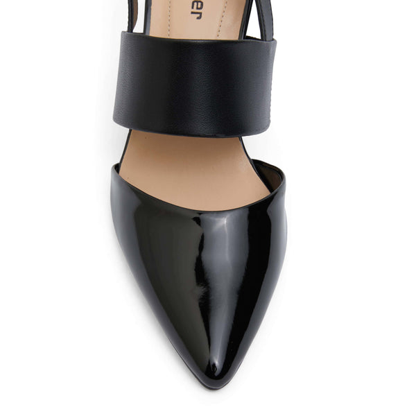 Kitson Heel in Black On Black Patent