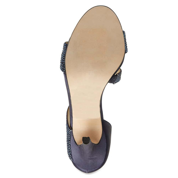 Lotus Heel in Navy Satin