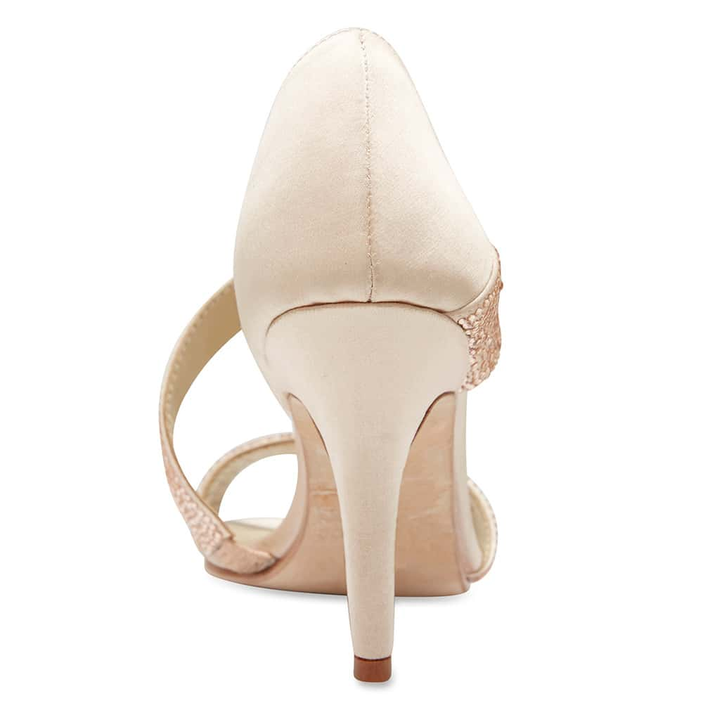 Lotus Heel in Pink Satin