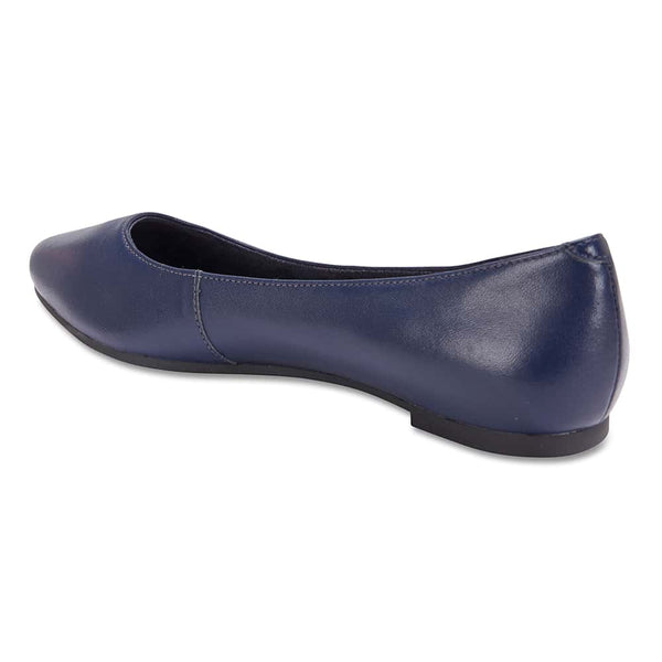 Lucia Flat in Navy Leather