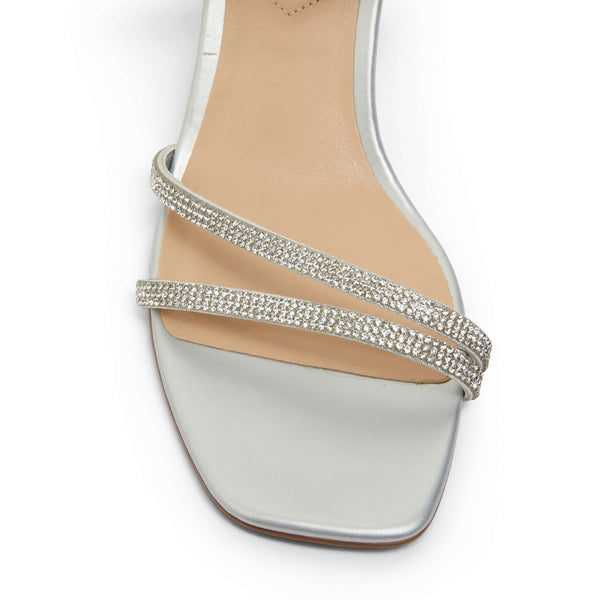 Marcy Heel in Silver Sparkle