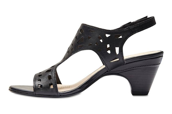 Maze Heel in Black Leather