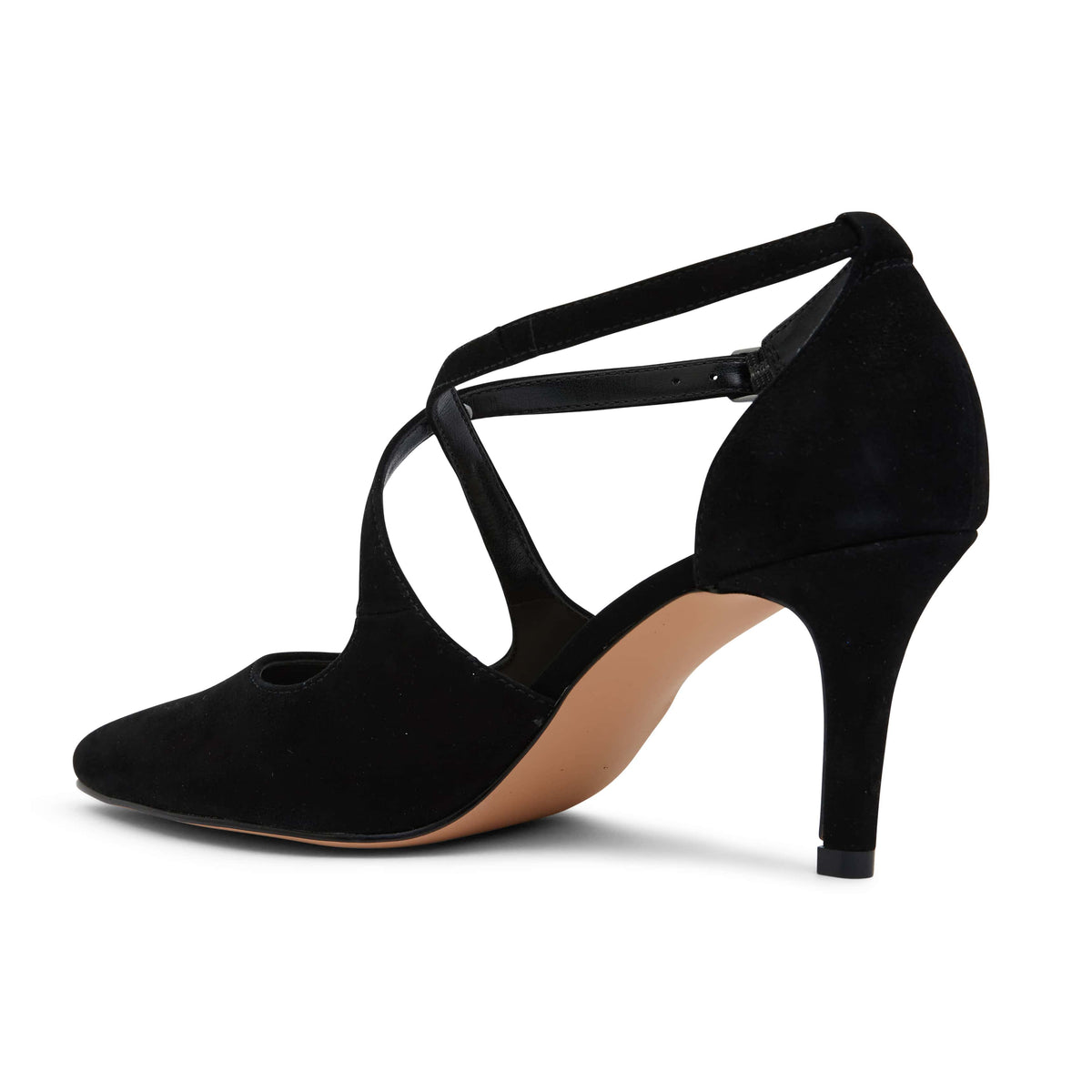 Merit Heel in Black Suede