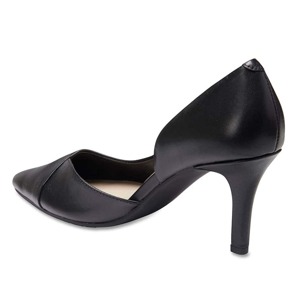 Mikado Heel in Black Leather