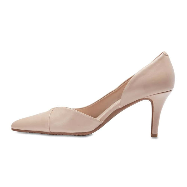 Mikado Heel in Nude Leather