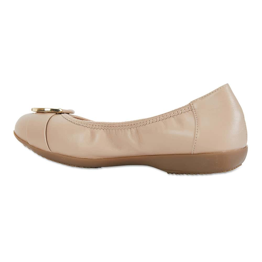 Nadine Flat in Nude Leather
