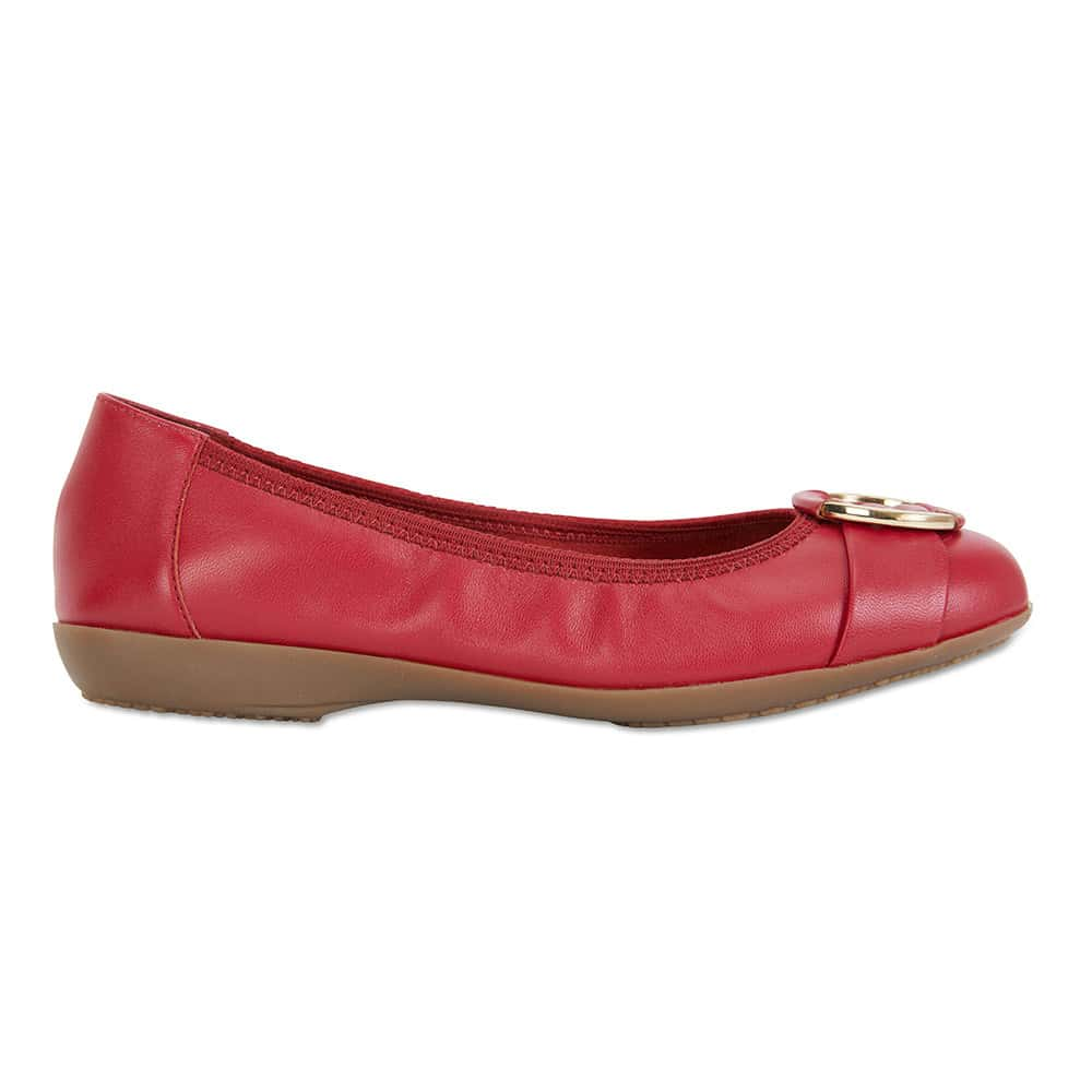Nadine Flat in Red Leather
