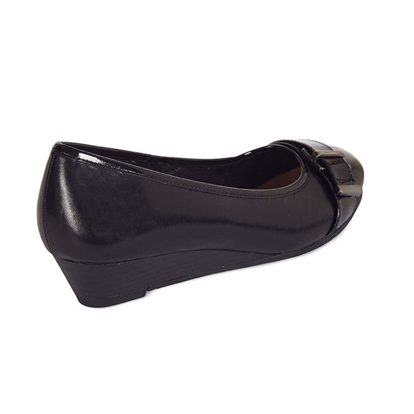 Napier Heel in Black Leather
