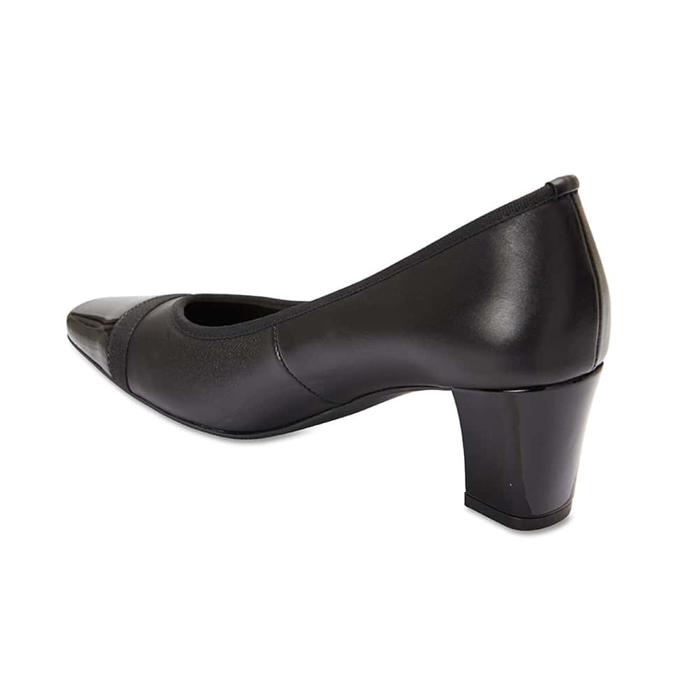 Network Heel in Black Leather