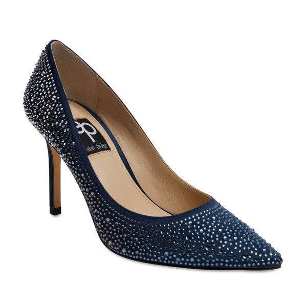 Nickie Heel in Navy Satin