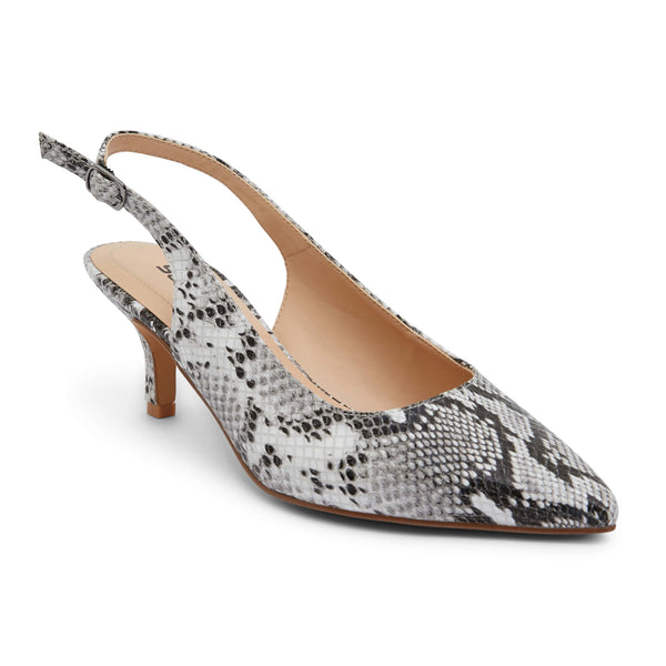 Nina Heel in Neutral Snake Leather