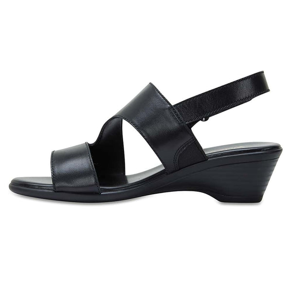 Orchid Heel in Black Leather