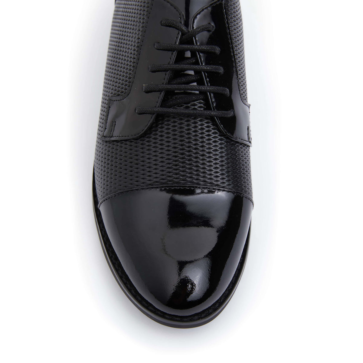 Panache Brogue in Black On Black Patent