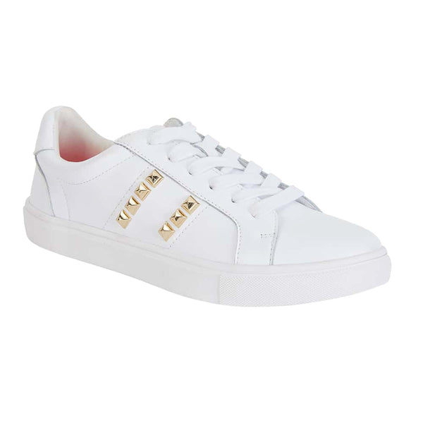Savage Sneaker in White And Gold Leather