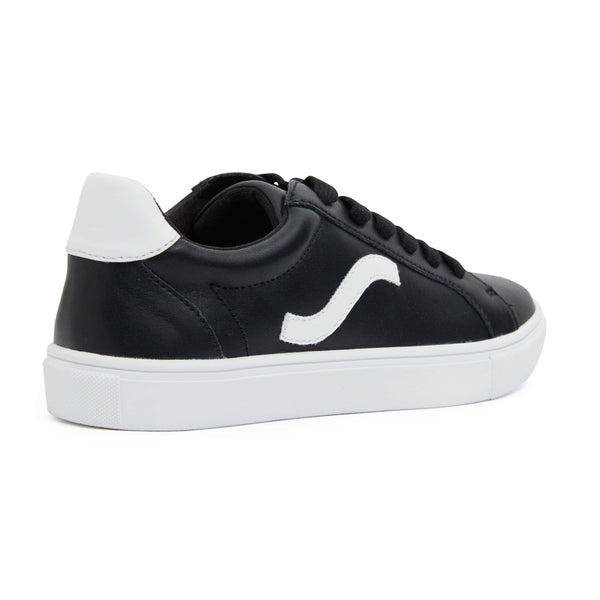 Saxon Sneaker in Black And White Leather