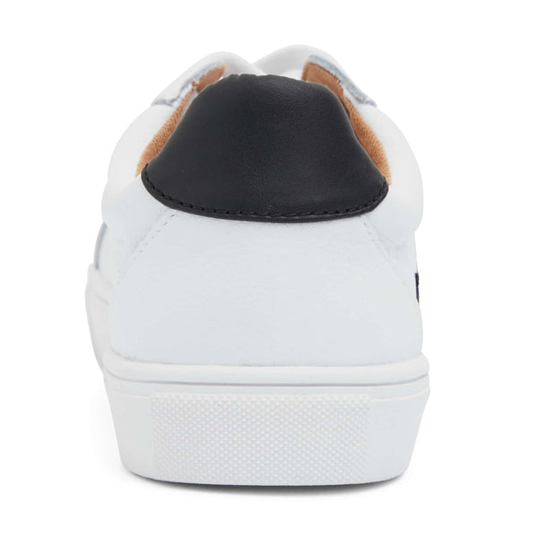 Saxon Sneaker in White And Black Leather