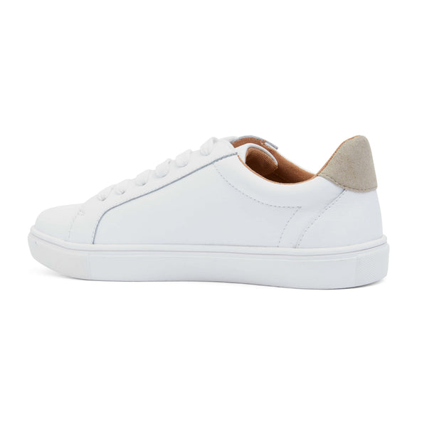 Saxon Sneaker in White And Taupe Leather