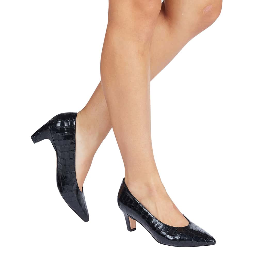 Seduce Heel in Black Croc Leather