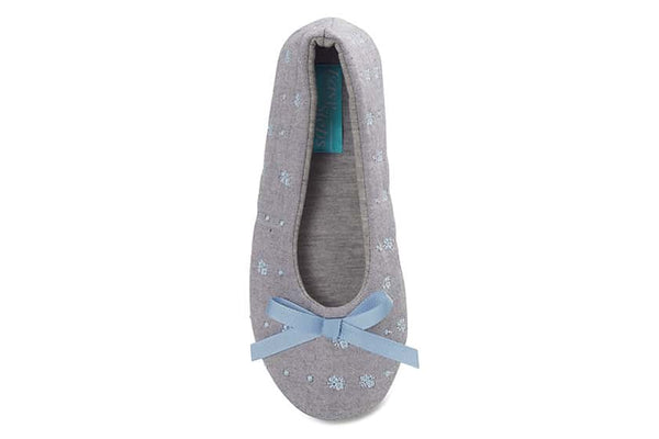 Sonia Slipper in Grey And Blue Fabric
