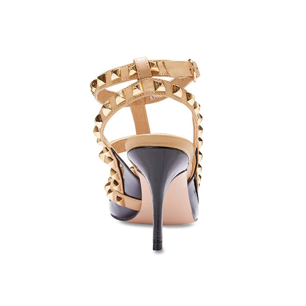 Sphinx Heel in Black And Nude Patent