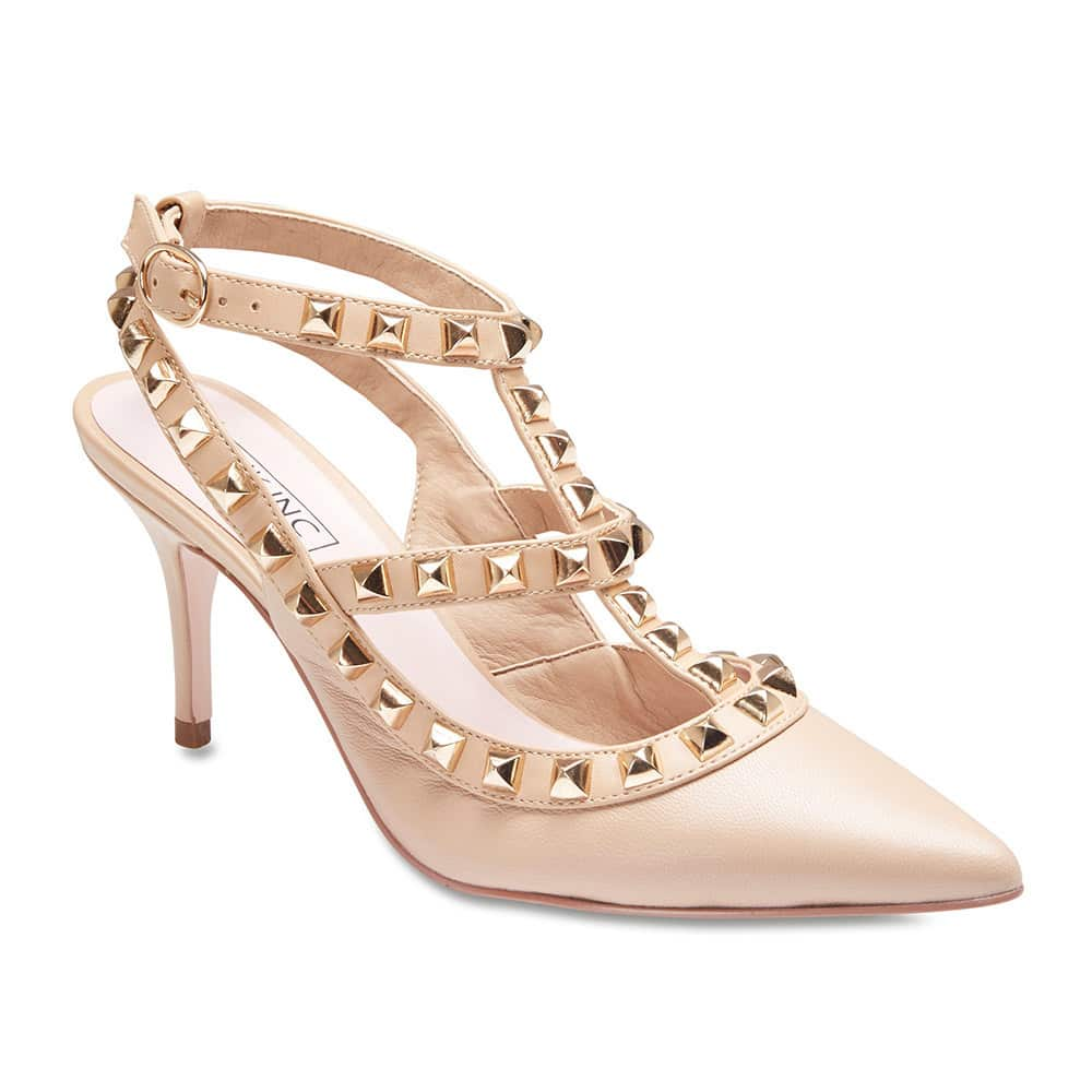 Sphinx Heel in Nude Leather