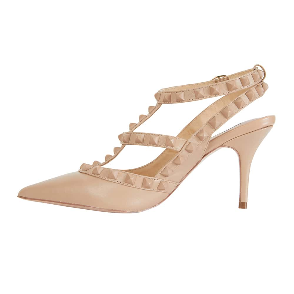 Sphinx Heel in Nude And Matte Leather