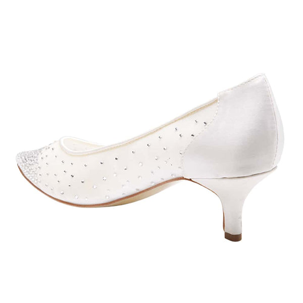 Spritz Heel in Ivory Satin