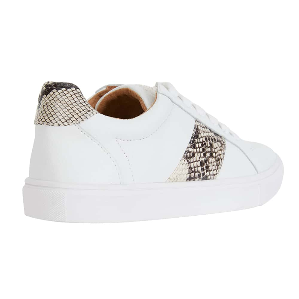 Storm Sneaker in White And Snake Print Leather
