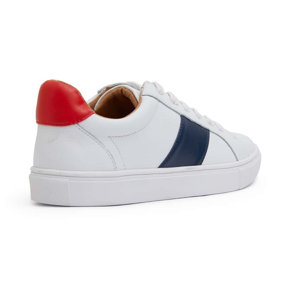 Storm Sneaker in White Navy And Red Leather