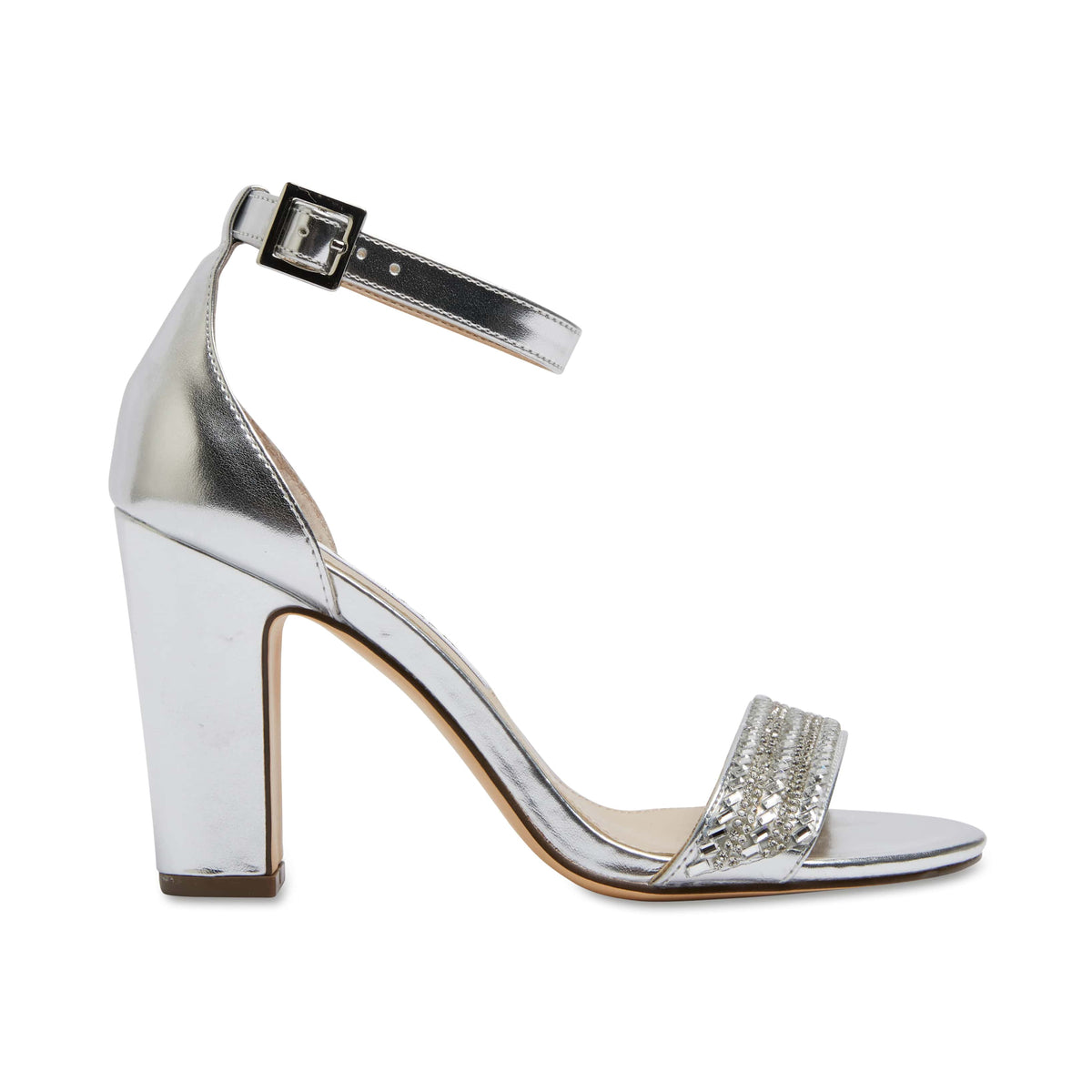 Suzette Heel in Silver Satin