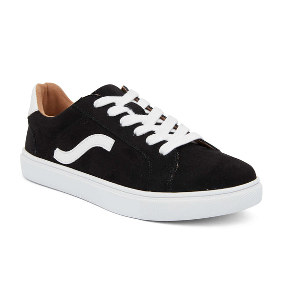 Swerve Sneaker in Black And White Suede
